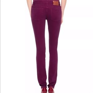 Tory Burch Ivy Super Skinny Purple Jeans Low Rise